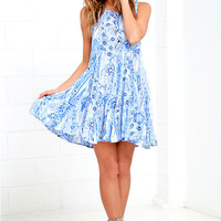 Spellbound Skies Blue Print Lace-Up Dress