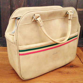 Vintage Samsonite Carry On Tote Bag Purse Luggage Tan Striped Bowling Bag Style