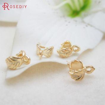 10PCS 7.5x6MM 24K Champagne Gold Color Plated Brass Charm Pendants Connector High Quality Diy Jewelry Findings Accessories