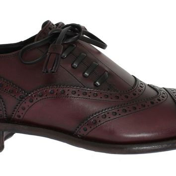 Bordeaux Leather Wingtip Oxford Shoes
