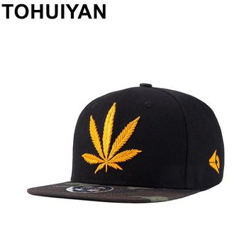 Trendy Winter Jacket TOHUIYAN Men Women Hempleaf Embroidery Snapback Cap Street Dance Hip Hop Caps Unisex Flat Bill Adjustable Hat Camo Baseball Hats AT_92_12
