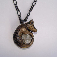 Thylacine Tasmanian Tiger Wolf Necklace Pendant  Rear View Mirror Dangle Charm Unique Cute and Bold Polymer Clay