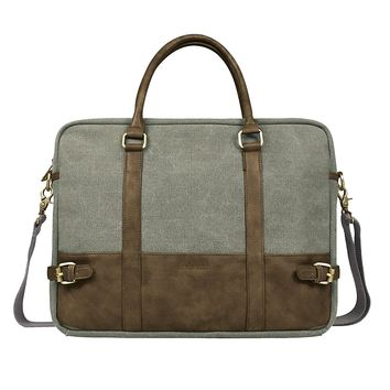 Cotton Canvas and Crazy-horse PU vegan Leather Laptop Bag / Cross Body Shoulder Bag and Handbag 2 in 1