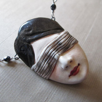 Love is Blind Porcelain Pendant on Sterling Silver by MaidOfClay