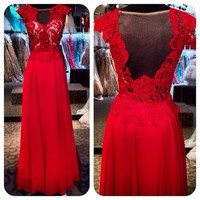 Red Long Prom Dress/Chiffon Prom dress/Lace Floral top with Nude Mesh/Sheer Back/Formal Evening dress