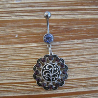 Belly Button Ring - Body Jewelry -Silver Medallion With Black and Purple Crystals and Lt Purple Gem Stone Belly Button Ring