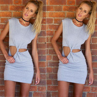 Hot Sale Simple Design Sexy Hollow Out Sleeveless One Piece Dress [6048379137]