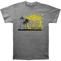 Sublime Men's Palm Trees With Sun Slim Fit T-shirt Large Grey