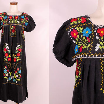 Vintage Black Red Blue Ethnic Oaxacan Mexican Floral Embroidered Caftan Dress - Hippie Boho Small