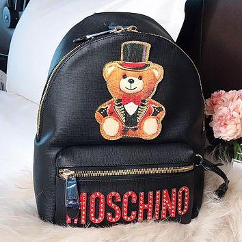 Moschino New Fashion Embroidery Bear Letter Travel Book Bag Backpack Bag Black