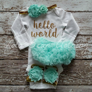 Baby Girl Take Home Outfit Newborn Baby Girl Hello World Onesuit Mint Bloomers White Headband Sandals Set