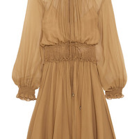 Chloé - Smocked silk-crepon mini dress