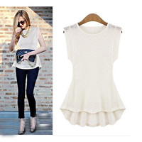Women's Vintage Lace Peplum Frill Bodycon Casual Party Tank Shirt Tops Blouse T-shirt VVF = 1946901316