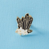 Black Floral Crystal Enamel Pin