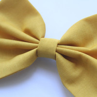 Harper Hair Bow - Mustard Yellow Hair Bow with Clip
