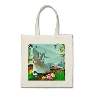 Apple Green Blue Tropical Landscape Tote Bag