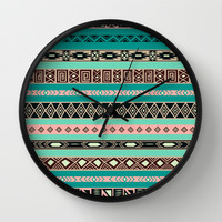 Aztec Tribal Pattern Wall Clock by RexLambo