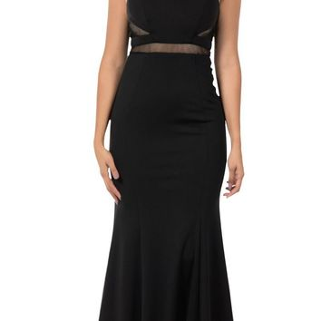 Black Mermaid Long Prom Dress with Sheer Cut-Outs