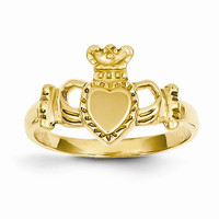 14kt gold Polished ladies claddagh ring