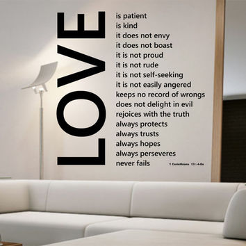 Love Wall Decal Love Is Patient Sticker Art Decor Bedroom Design Mural Love Family Married Home