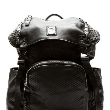 Diesel Black Mock Leather Studded Rucksack