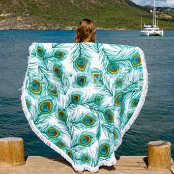 Day-First™ Peacock On The Beach Tapestry Full Of Colors And Beauty