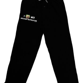 I Heart My Golden Retriever Adult Lounge Pants - Black