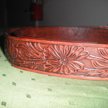 Leather Western Belt, tooled floral pattern