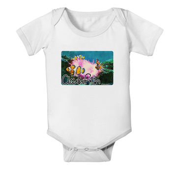 Clownfish Watercolor Text Baby Romper Bodysuit