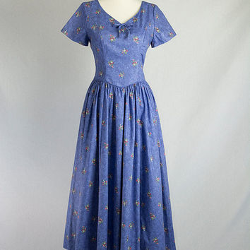 Vintage 80s Blue Floral Laura Ashley Full Skirt Dress S