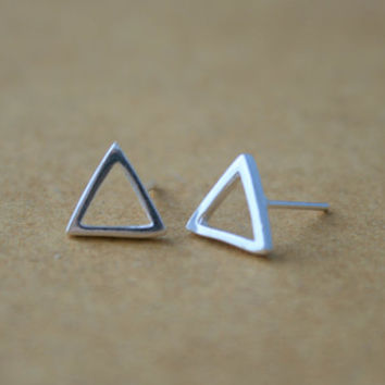 925 Sterling Silver Triangle Stud Earrings - Geometric Stud Earrings - Minimalist Earrings - Open Triangle Post Earrings - Bridesmaid Gift