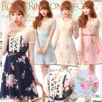 Rakuten: Bustier  lace up Rose pattern dress- Shopping Japanese products from Japan