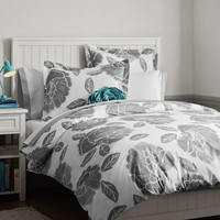 Floral Dot Duvet Cover + Sham, Light Gray