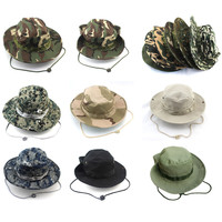 2015 Summer Men Military Camo  Hat with String Cotton Camping Hiking Travel Sniper Boonie Wide Brim Sun Fisherman Bucket Hat