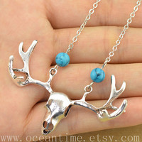 deer necklace,turquoise necklace,blue turquoise,elk necklace,love necklace,friendship necklace,oceantime