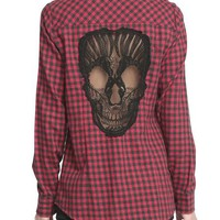 Skull Hollow Out Plaid Shirt Long Sleeve