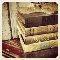French Country Home,House Warming Gift,Dorm Room,Autumn,Neutrals,Home Staging,Office,Book Collection, Vintage,Old Books,Interior Design