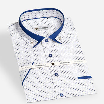 Summer Men Short Sleeve Mini-polka Dot Pattern Dress Shirt with Contrast Color Double Collar Slim-fit Cotton Casual Shirts