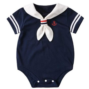 Navy Summer Baby Rompers Short Sleeve Girls Jumpsuit Sailor Baby Boy Romper Clothing Cotton Infant Costume Newborn Clothes Kids