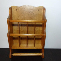 Vintage Wooden Two Tier Hanging Wall Magazine Rack and Towel or Toilet Paper Holder