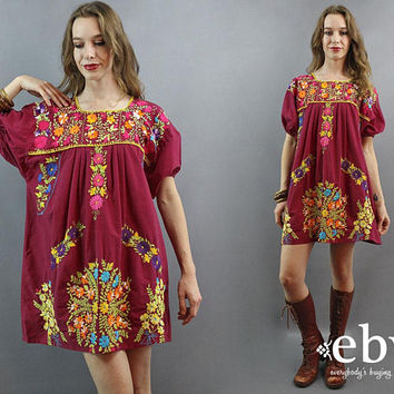 Plus Size Dress Mexican Dress Embroidered Dress Hippie Dress Hippy Dress Boho 70s Dress Festival Dress Oaxacan Dress 1970s Dress 1X 2X