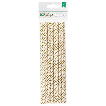 24 White with Gold Polka Dot and Chevron Paper Straws, Biodegradable - DIY Shop