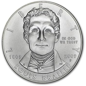 2009-P Louis Braille $1 Silver Commem BU (w/ Box & COA)
