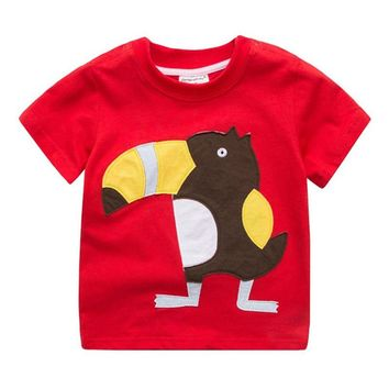 Jumping baby boy clothes Tees & Tops Summer cotton t shirts for boys wear animals applique cute kids t shirts boys tees clothes