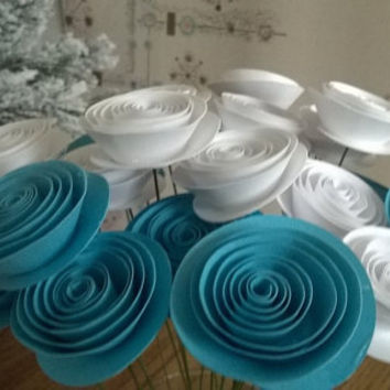 "12 Aqua Blue and White paper flowers for centerpiece, bunch of 1.5"" roses on stems, Floral arrangement, Party Supply, Wedding Decorations"