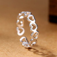 Women Silver Plated Heart Fashion Design Open Love Party Ring Free Size
