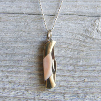 Mini Pocket Knife Necklace » Sterling Silver Chain » Miniature Pocket Knife » Pink Mother of Pearl Knife Pendant » Boho Jewelry