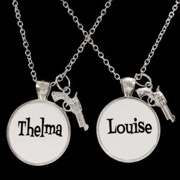 Thelma Louise And Gun Partners In Crime Gift Best Friends Sisters Necklace Set