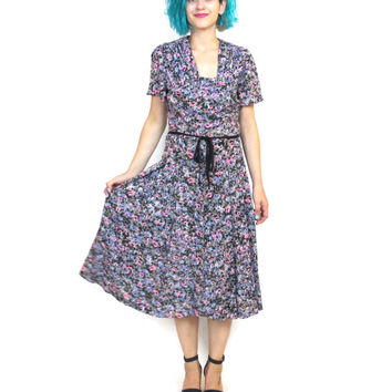 1940s Floral Print Jersey Dress 40s Day Dress Rockabilly Swing Short Sleeve Pleated Retro Dress Summer Watercolor Print (M/L)