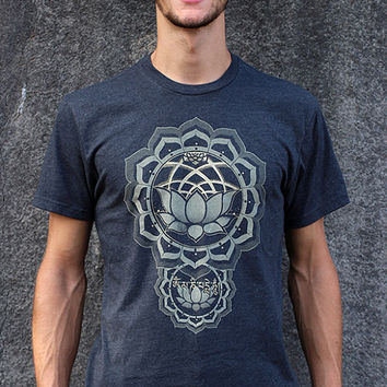 PROTECTION Mens Shirt - Om mani padme hum - lotus sacred geometry - screen print